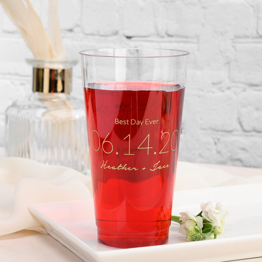 Personalized Wedding Date Clear Plastic Cups