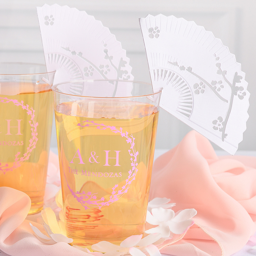 Personalized Cherry Blossom Clear Plastic Cups
