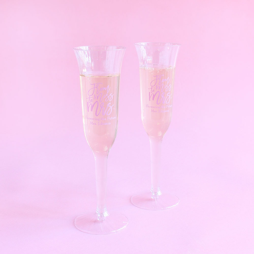 Personalized Miss to Mrs Plastic Champagne Flutes