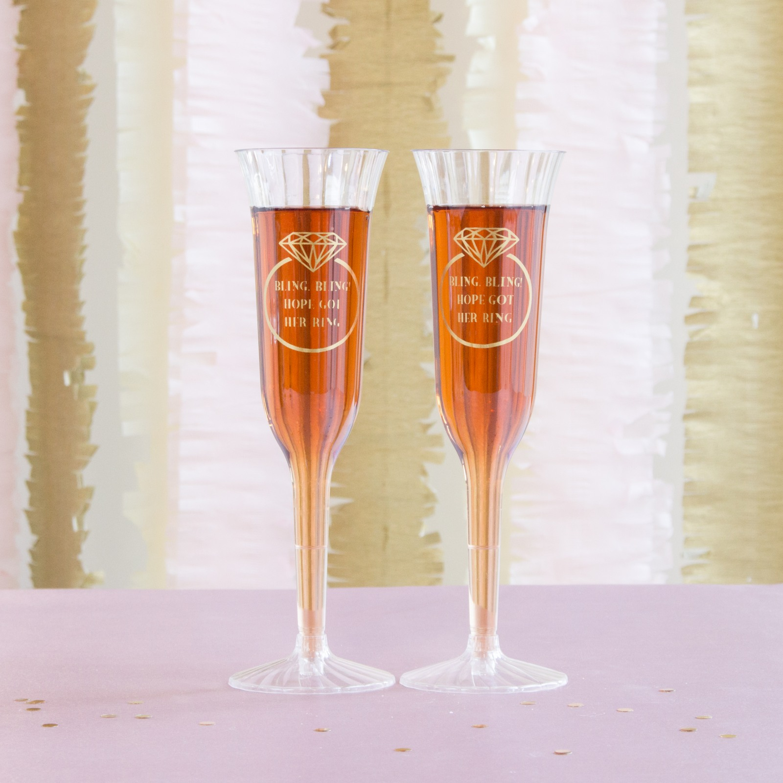 Personalized Ring Plastic Champagne Flutes