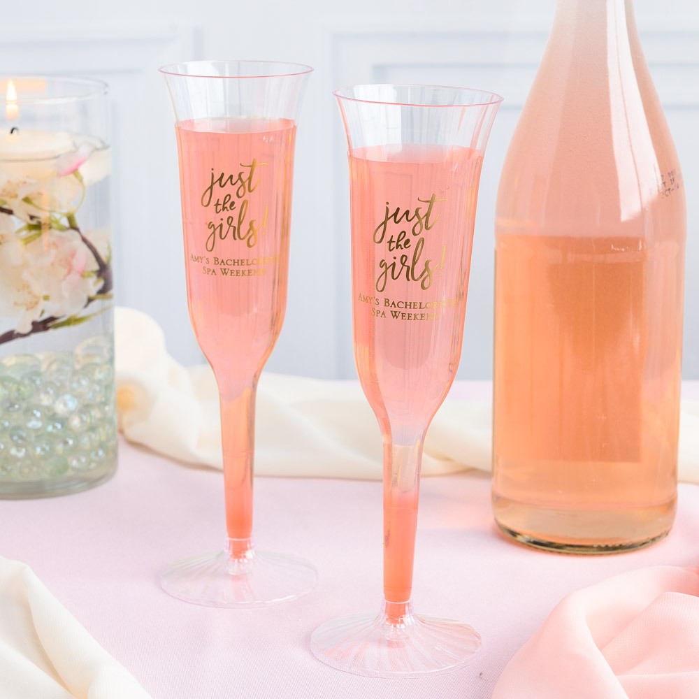 Personalized Just the Girls Plastic Champagne Flutes