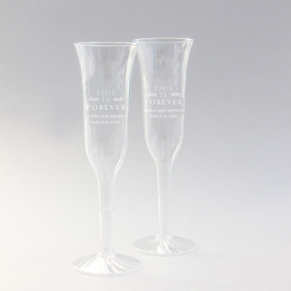 Personalized This is Forever Plastic Champagne Flutes