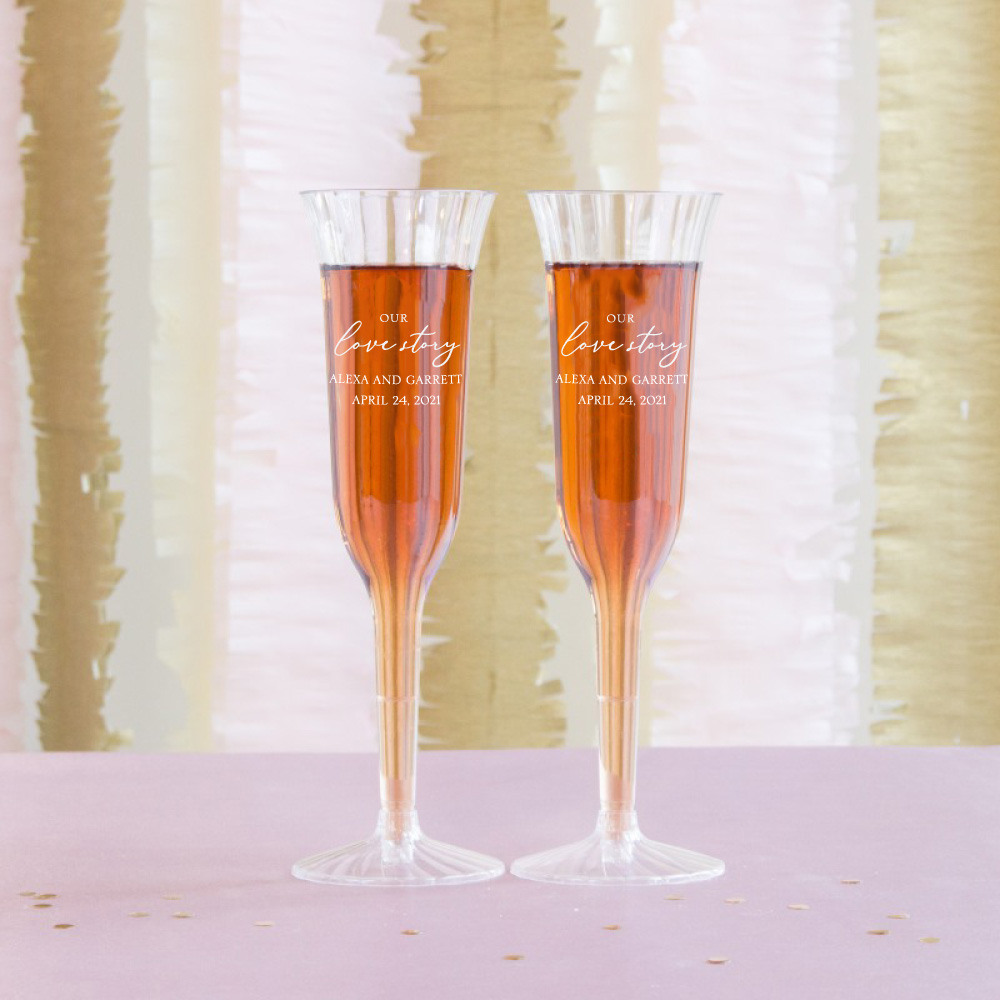 Personalized Our Love Story Plastic Champagne Flutes