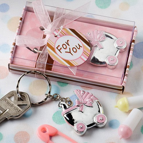 Pink Baby Carriage Key Chain Favor