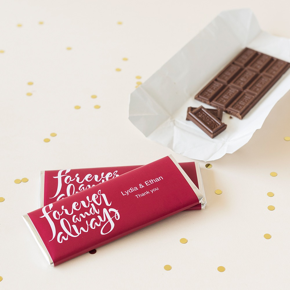 Personalized Forever and Always Chocolate Bars