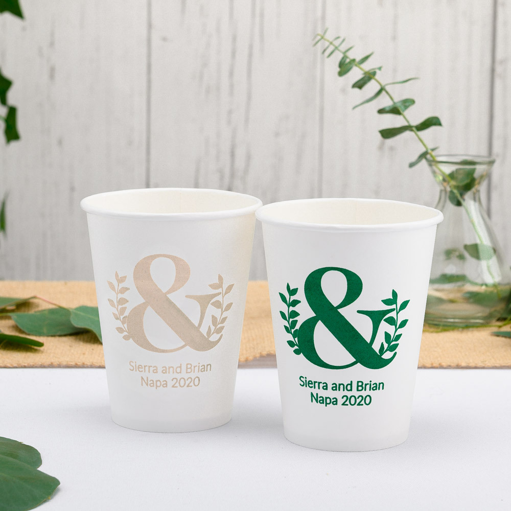 Personalized Eco Ampersand Wedding Paper Cups