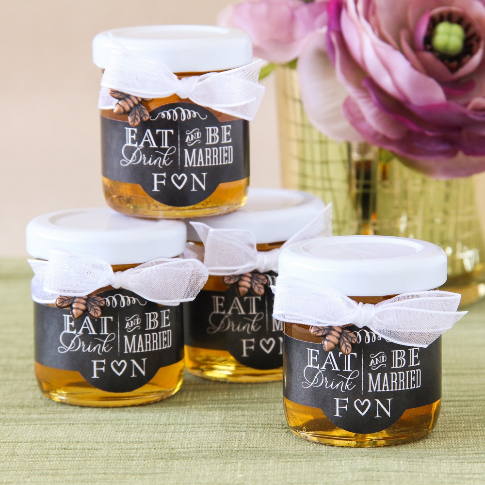 Personalized Eat Drink Be Married Honey Jars