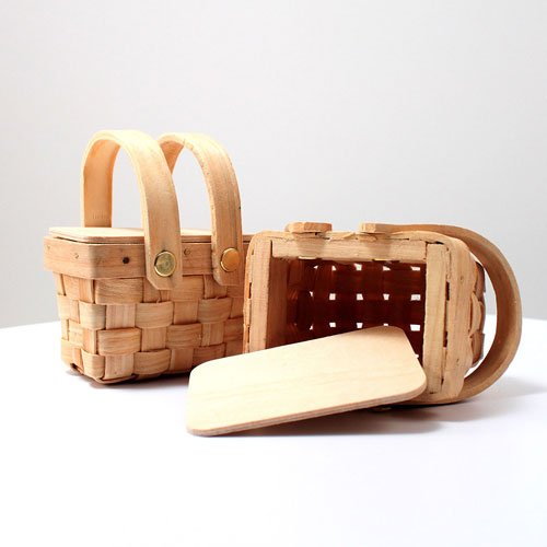 Mini Woven Picnic Basket and Lid