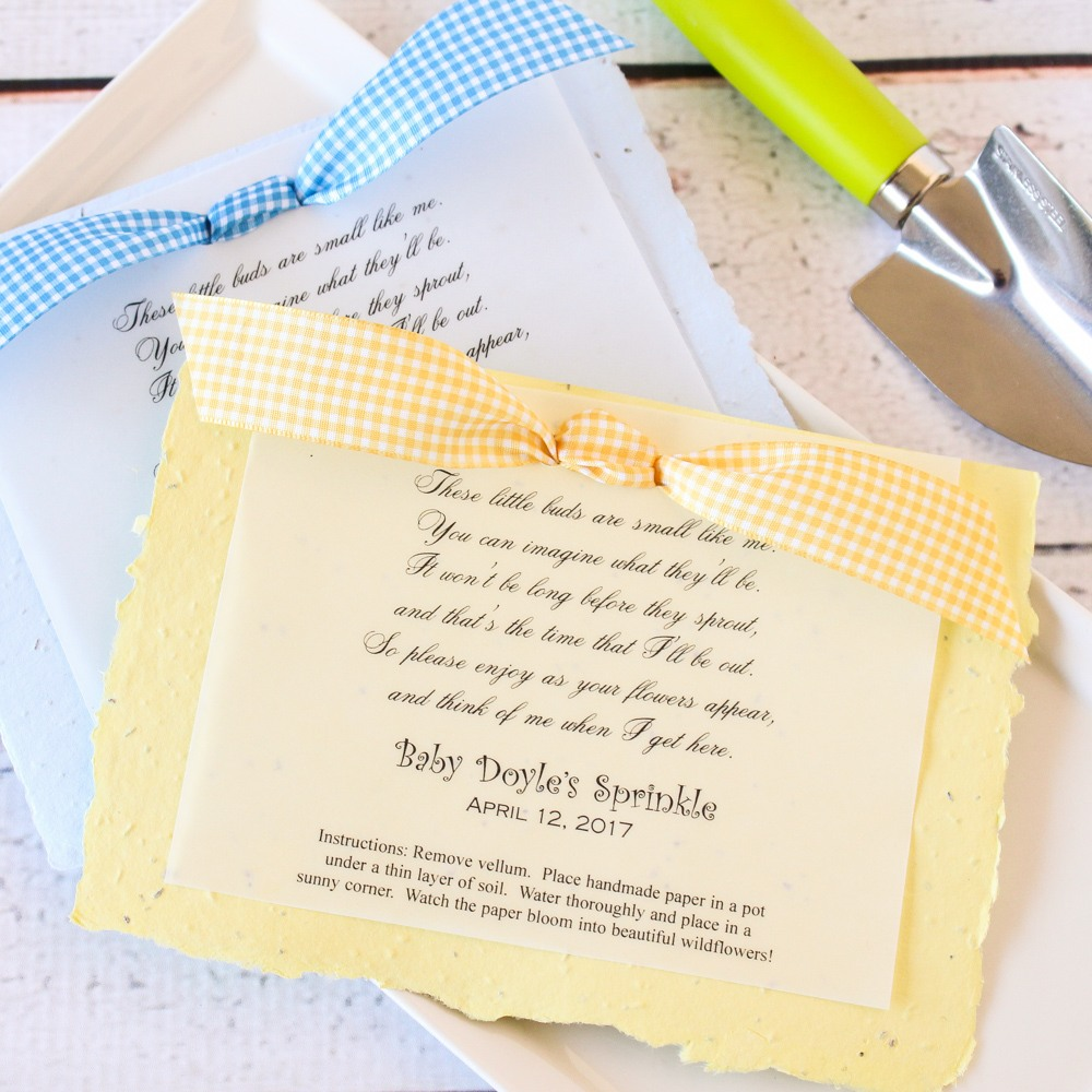 Personalized Baby Shower Plantable Seed Poem Favor 2715