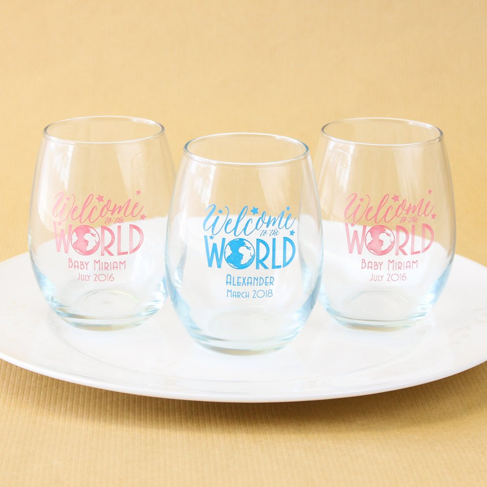 Personalized Welcome to the World Stemless Wine Glasses