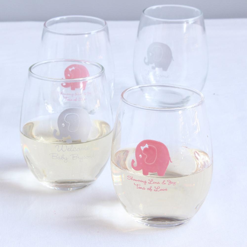 Personalized Elephant Baby Shower Wine Glass