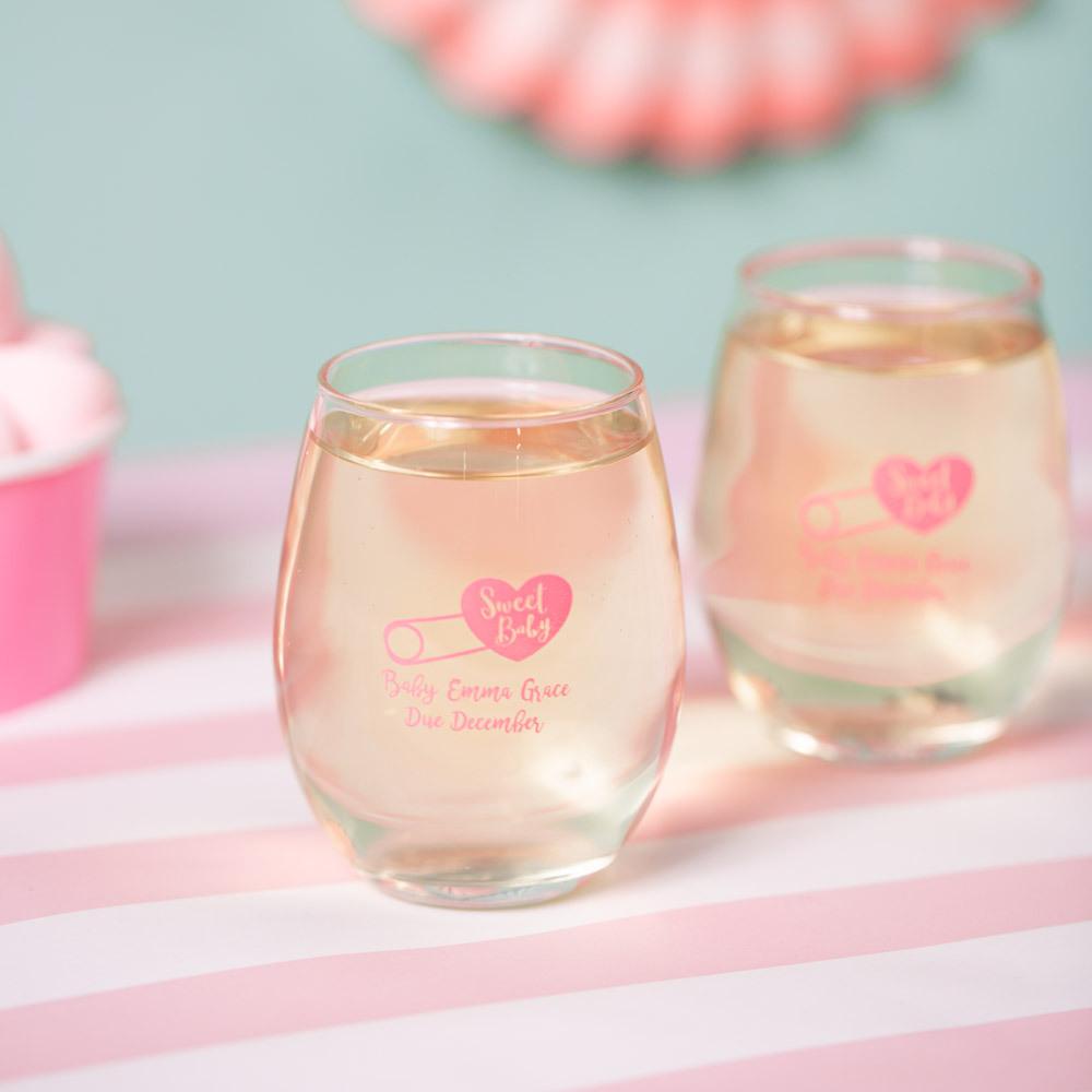 Personalized 9 oz. Sweet Baby Shower Stemless Wine Glass