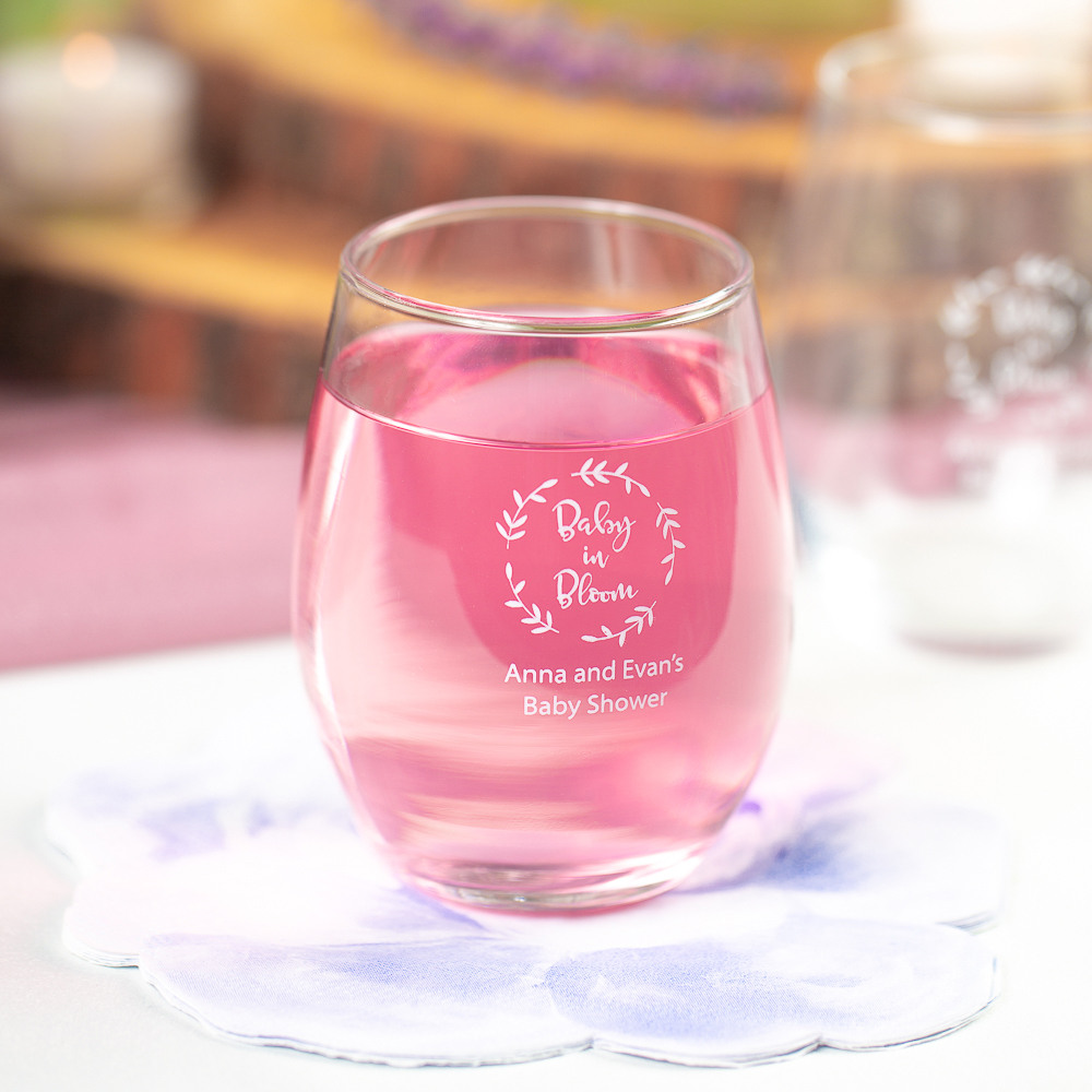 Personalized Baby in Bloom 9 oz. Baby Shower Stemless Wine Glass
