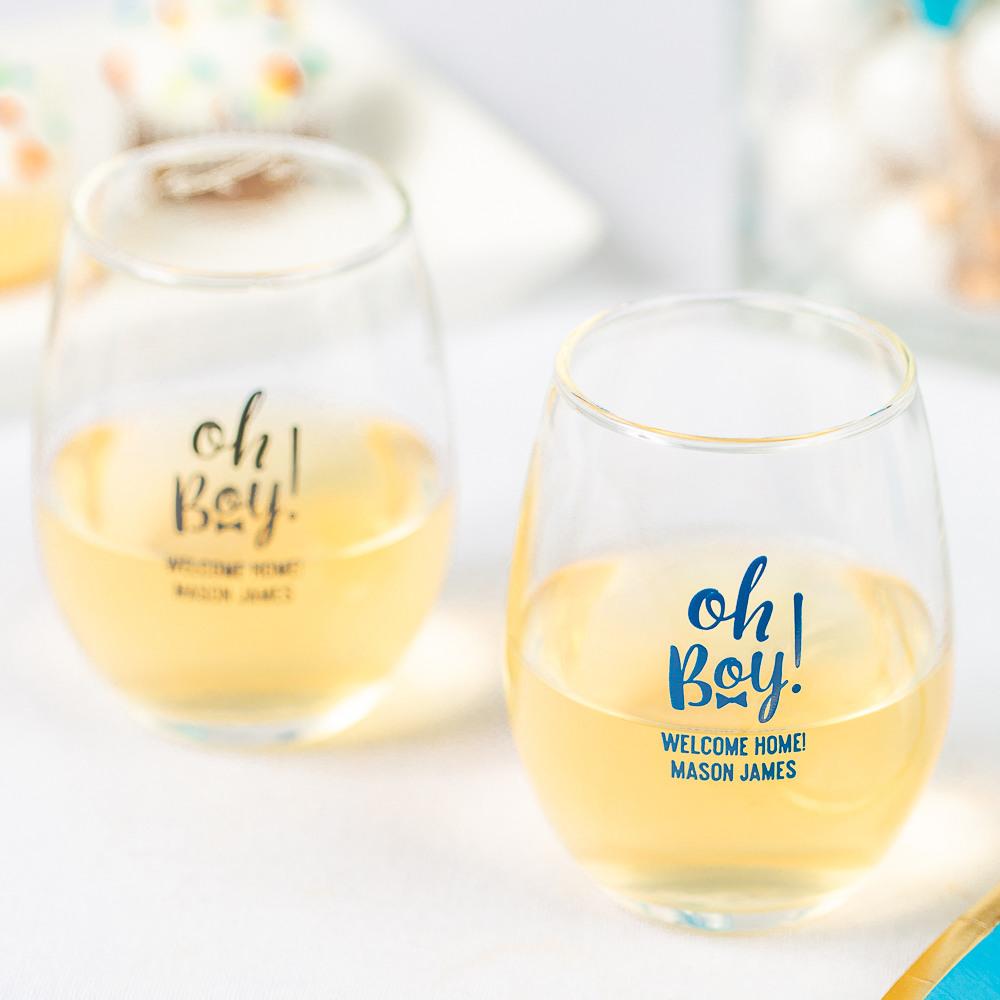 Personalized Oh Boy 9 oz. Baby Shower Stemless Wine Glass