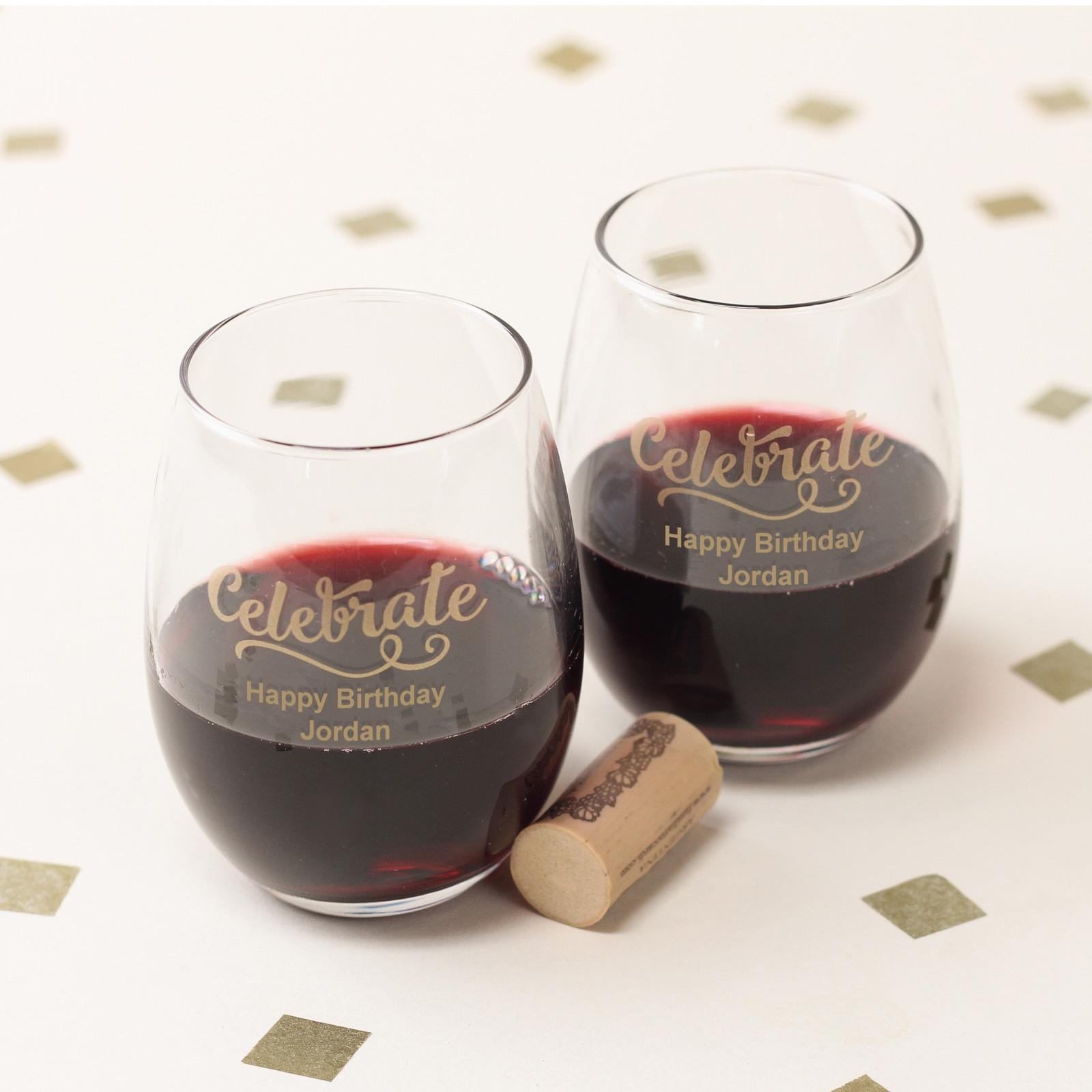 Personalized 9 oz. Celebrate Stemless Wine Glass