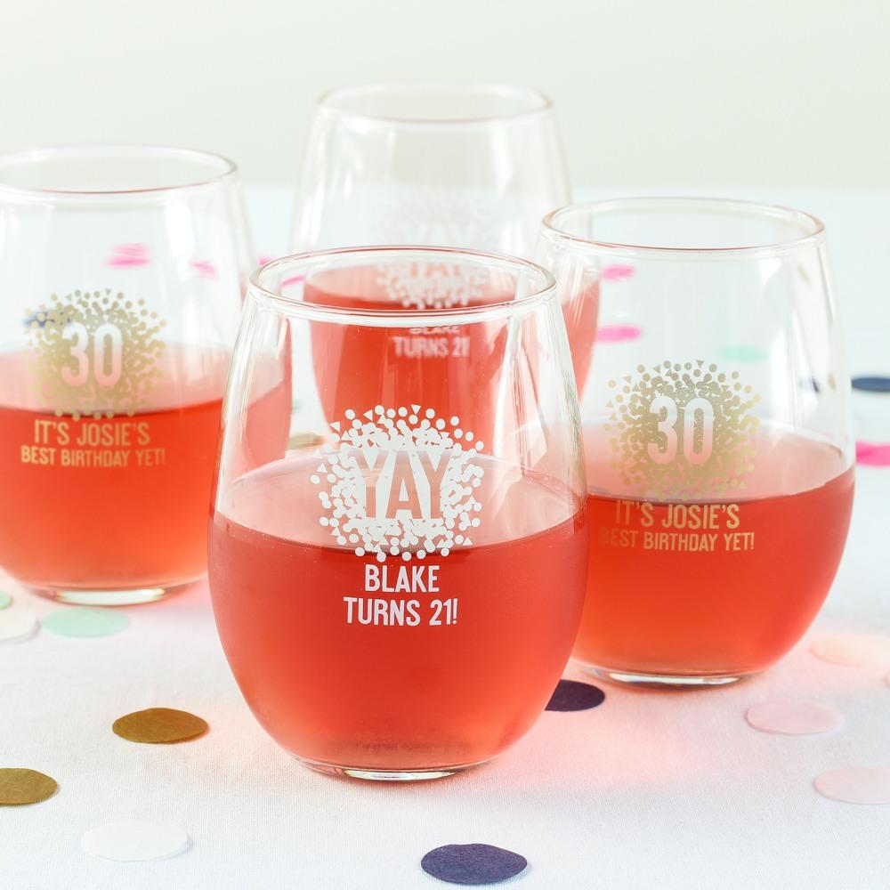 Personalized Confetti Stemless Wine Glasses
