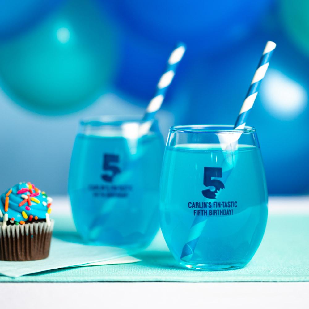 Personalized Shark Bite 9 oz. Birthday Stemless Wine Glass
