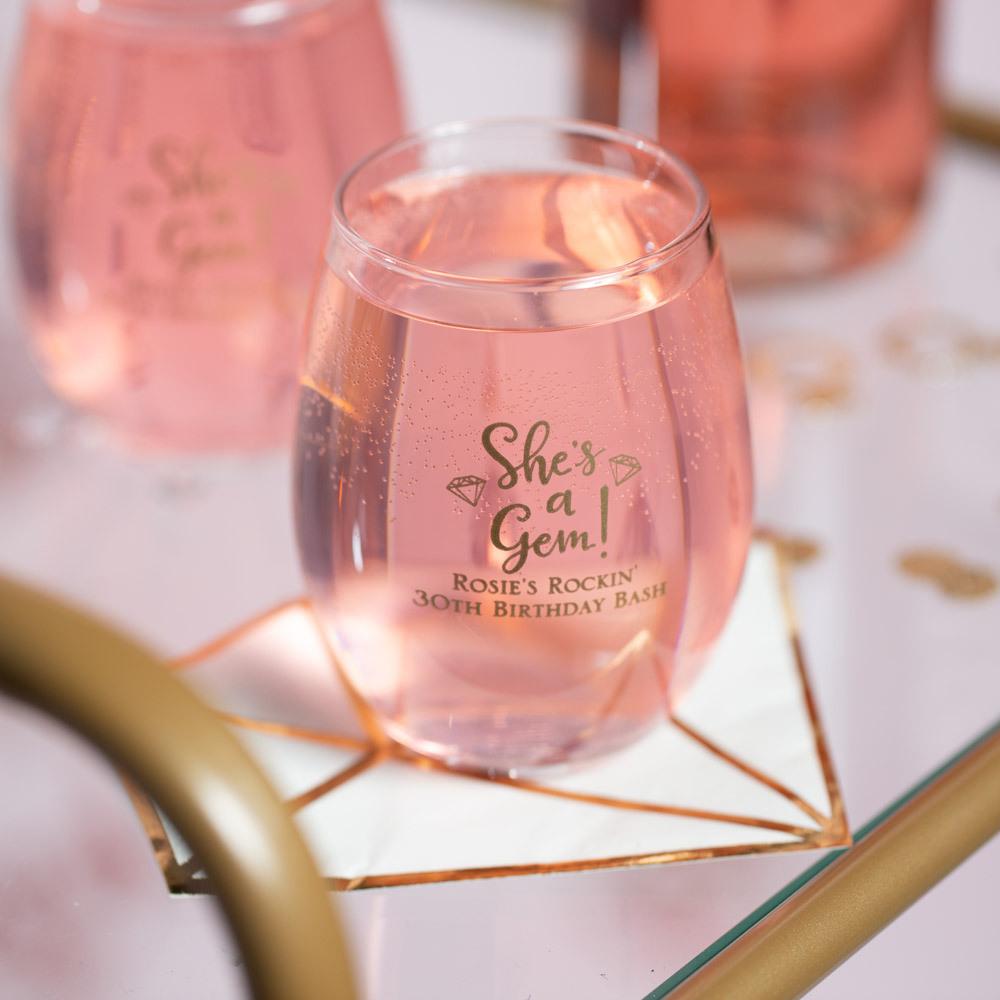 Personalized 9 Oz. Birthday Stemless Wine Glass 2765