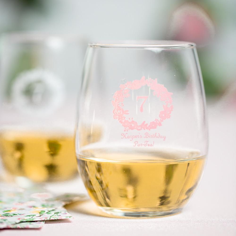 Personalized 9 oz. Birthday Wreath Stemless Wine Glass