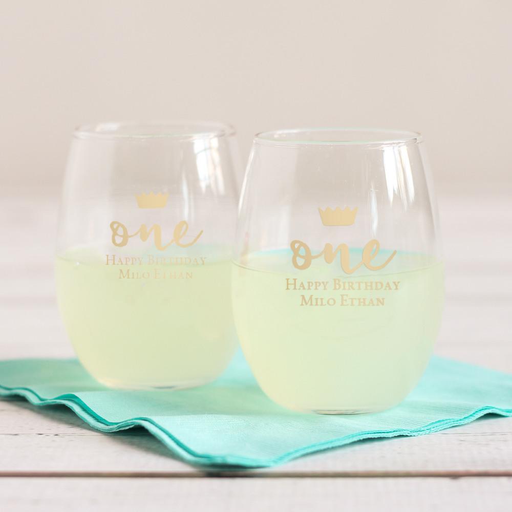 Personalized 9 oz. Birthday Stemless Wine Glass