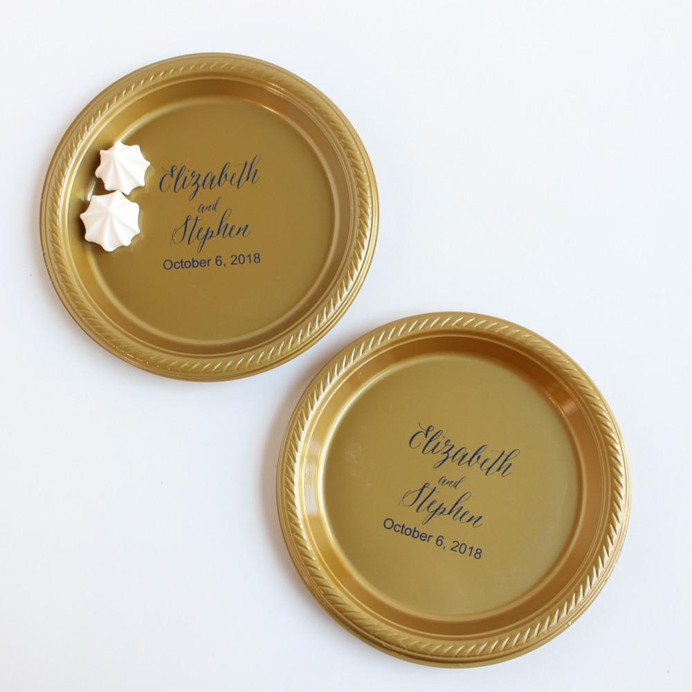 Personalized Round Wedding Plastic Plates