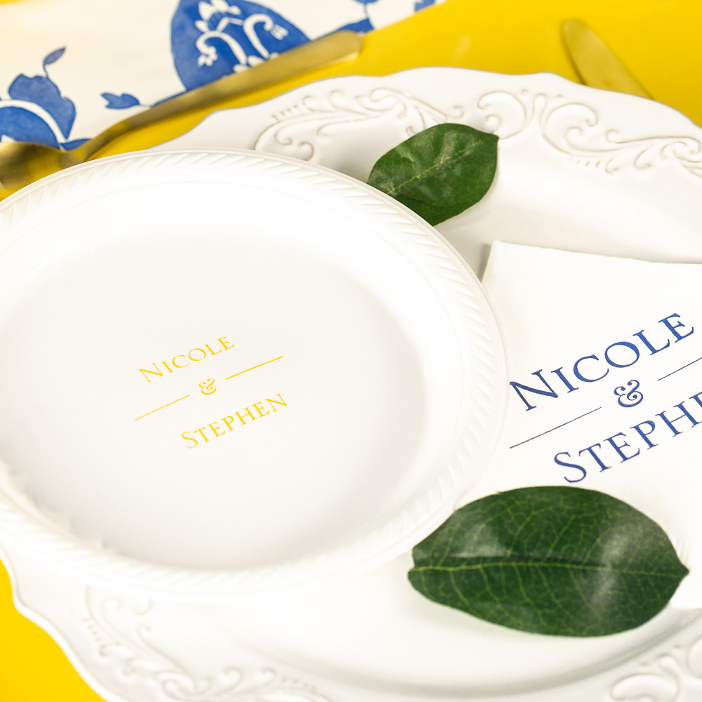 Personalized Citrus Garden Round Wedding Plastic Plates