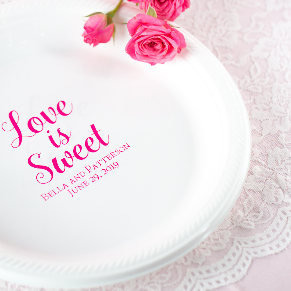 Personalized Love is Sweet Round Wedding Plastic Plates