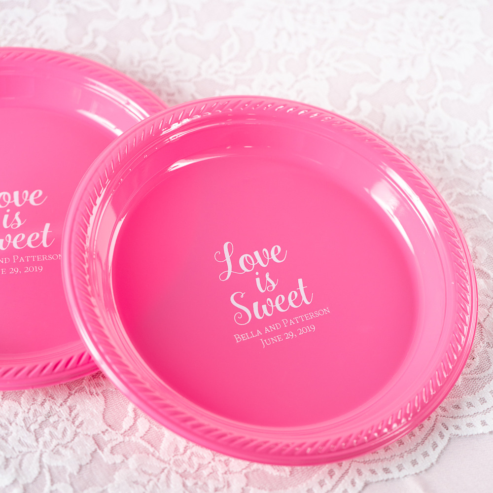 Personalized Love is Sweet 2 Round Wedding Plastic Plates