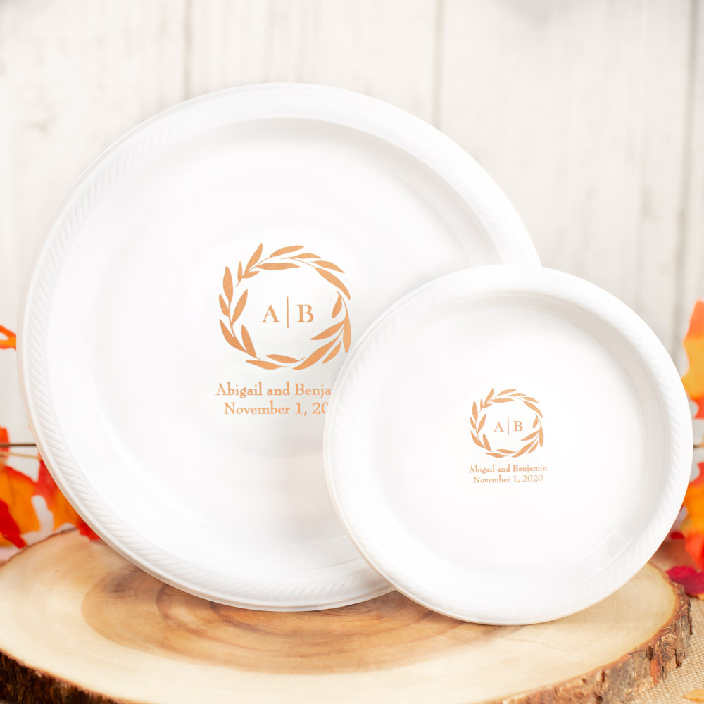 Personalized Fall Harvest Round Wedding Plastic Plates