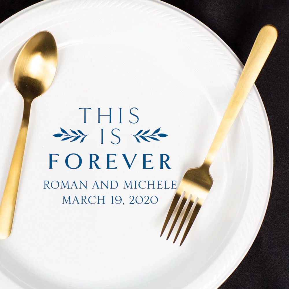 Personalized This is Forever Round Wedding Plastic Plates