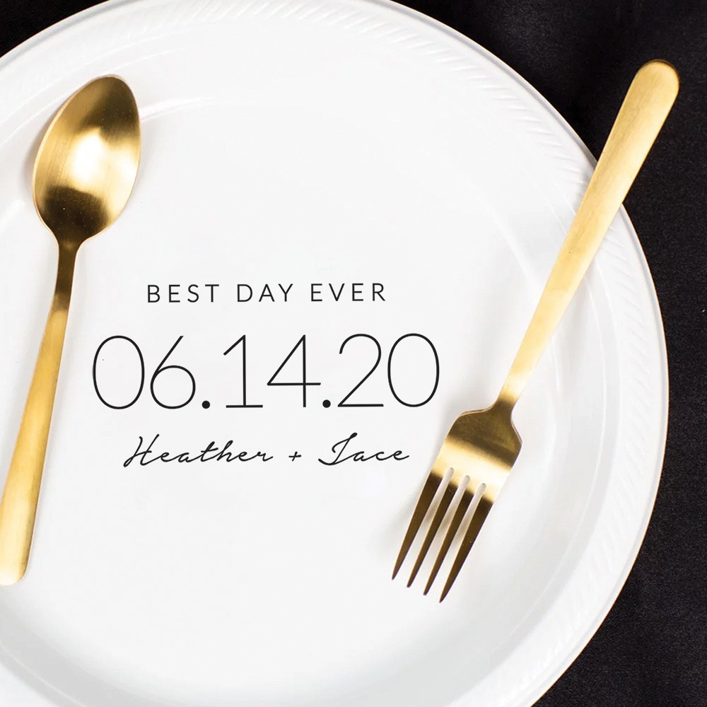 Personalized Wedding Date Round Wedding Plastic Plates