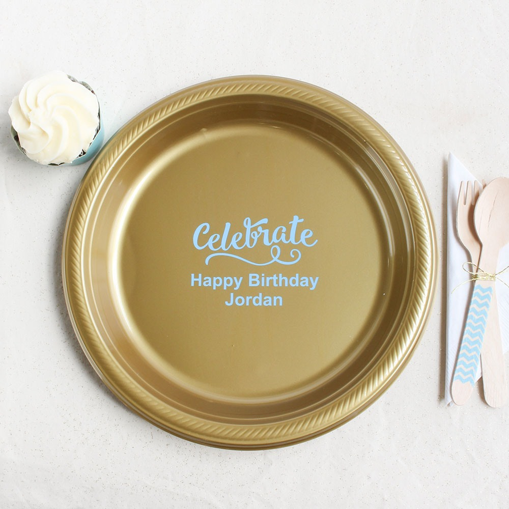 Personalized Celebrate Plastic Plate