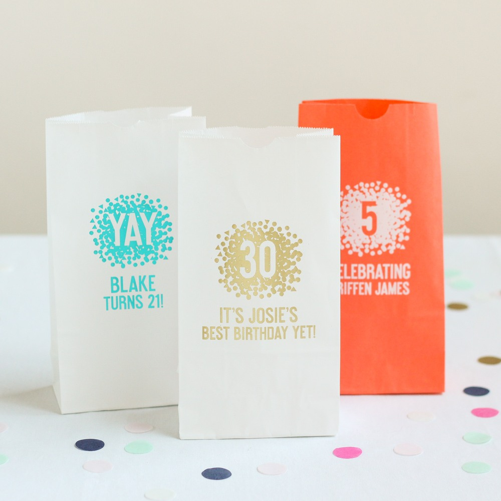 Personalized Confetti Birthday Party Goodie Bags