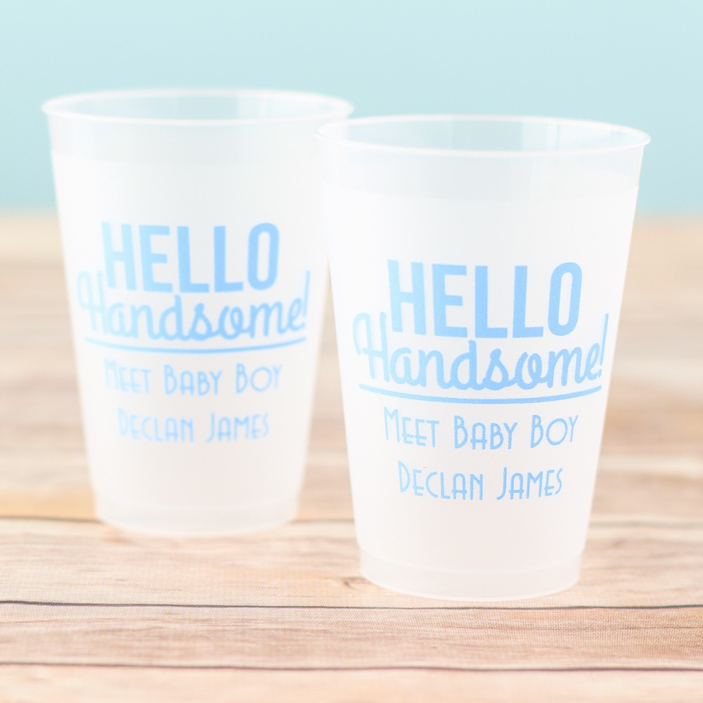 Personalized Hello Handsome Frosted Cups