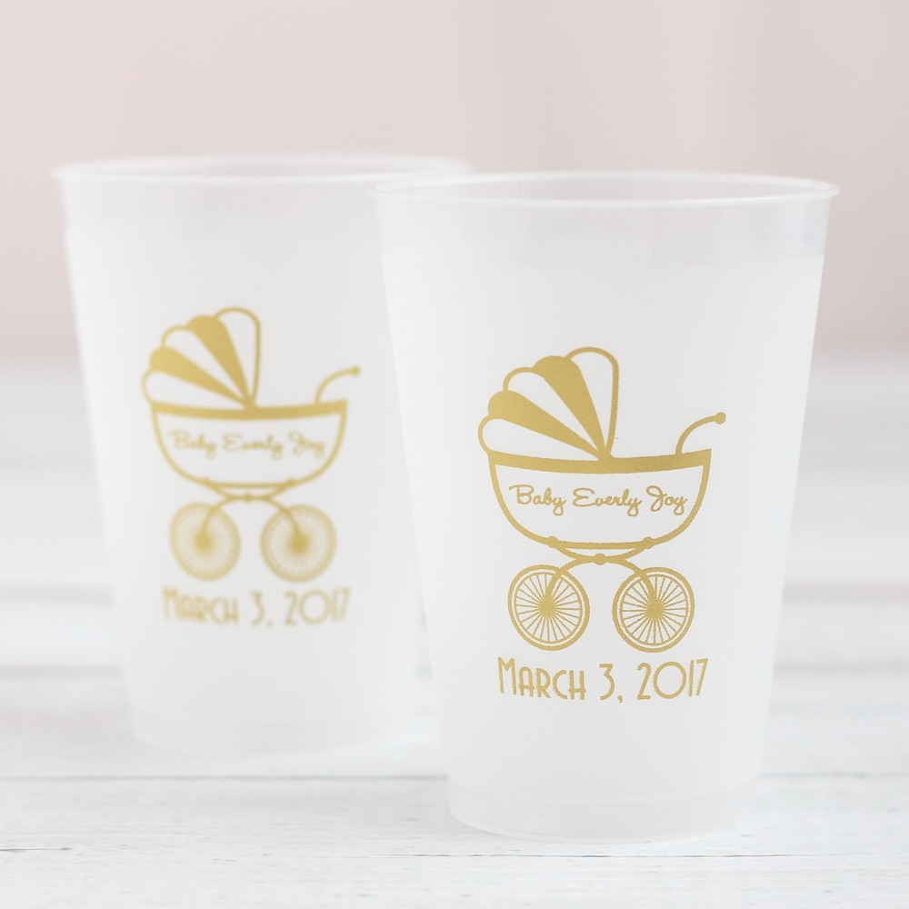Personalized Carriage Frosted Cups