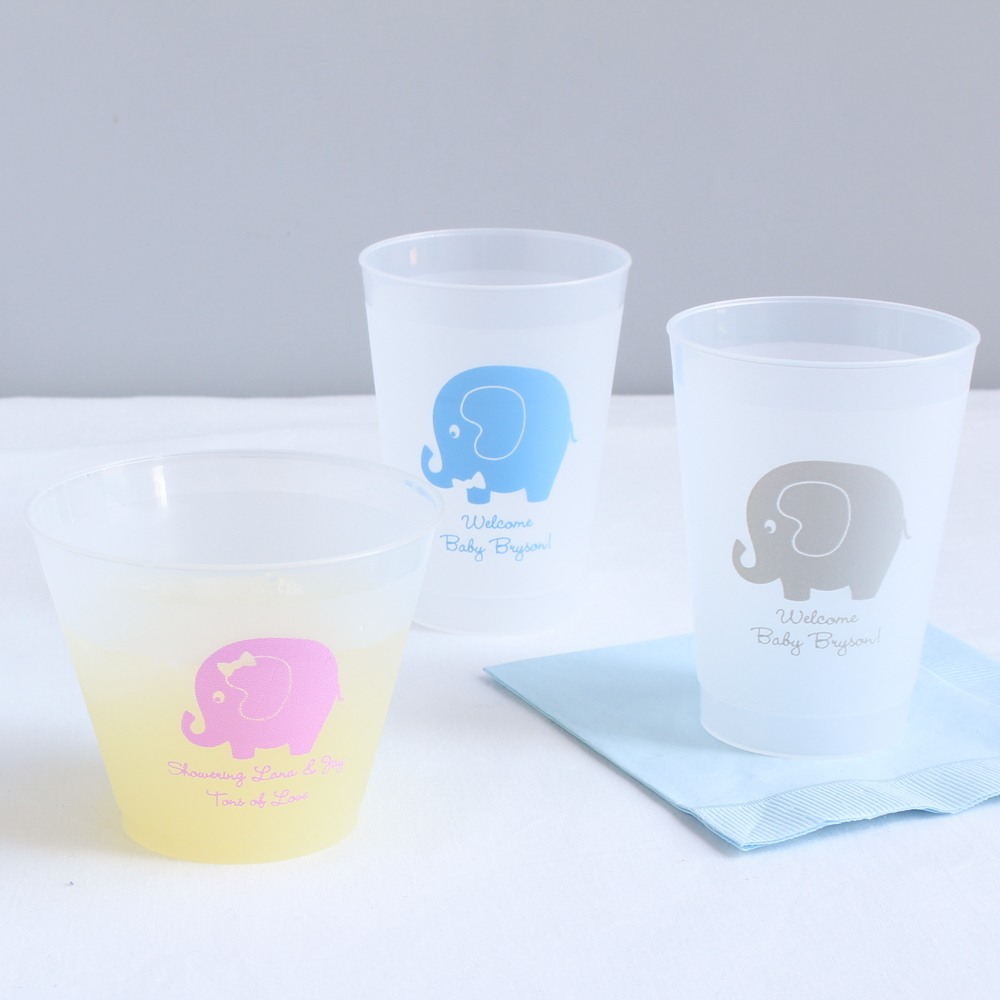 Personalized Elephant Frosted Plastic Cups