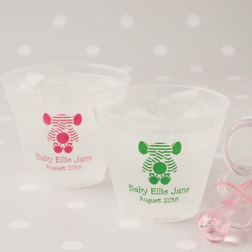 Personalized Baby Stripe Frosted Plastic Shower Cups