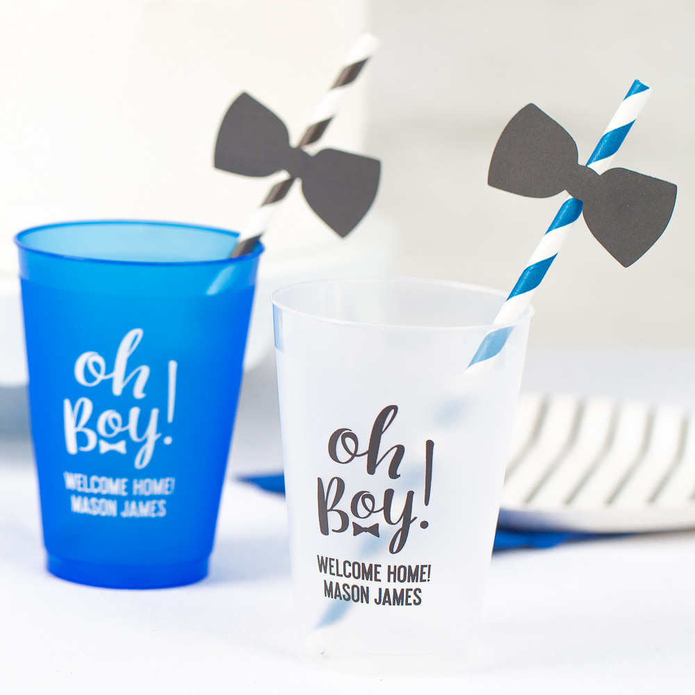 Personalized Oh Boy Frosted Plastic Baby Shower Cups
