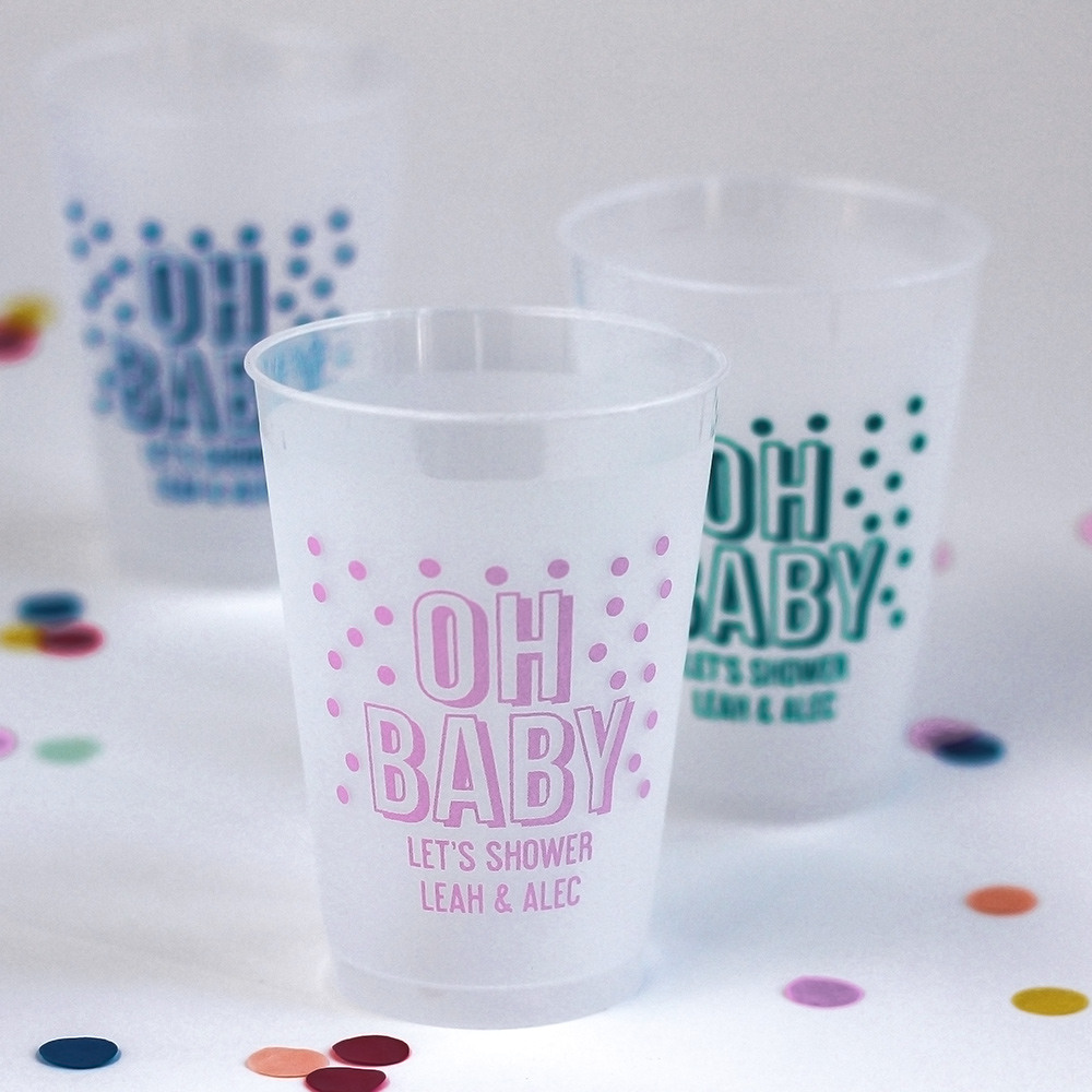 Personalized Frosted Plastic Baby Shower Cups 3811