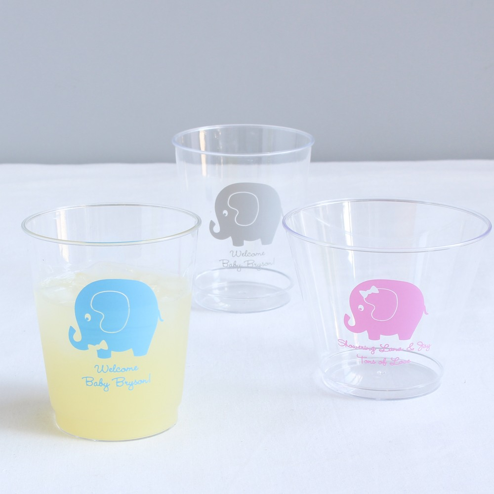 Personalized Elephant Clear Plastic Cups