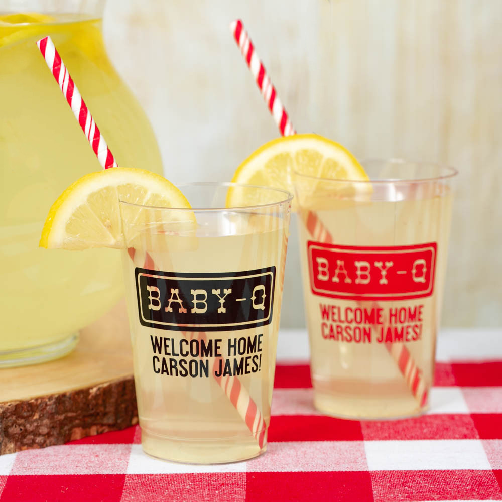 Personalized Baby-q Clear Plastic Baby Shower Cups