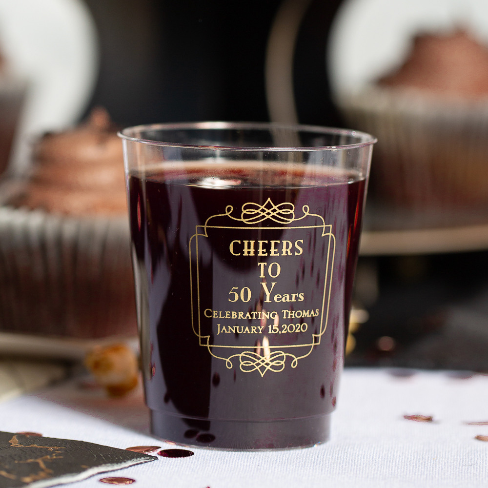 Personalized Vintage Cheers Clear Plastic Birthday Cups
