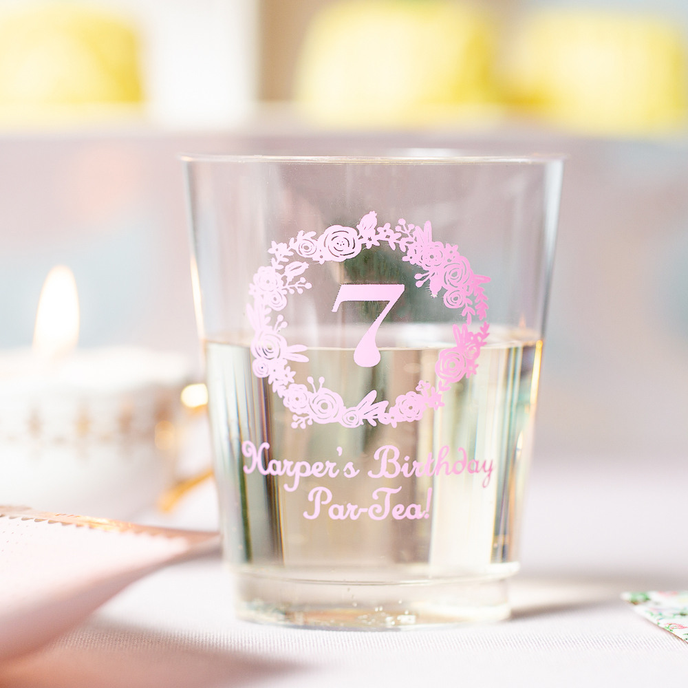 Personalized Birthday Wreath Clear Plastic Birthday Cups