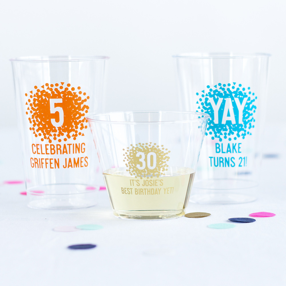 Personalized Clear Plastic Birthday Cups 3813