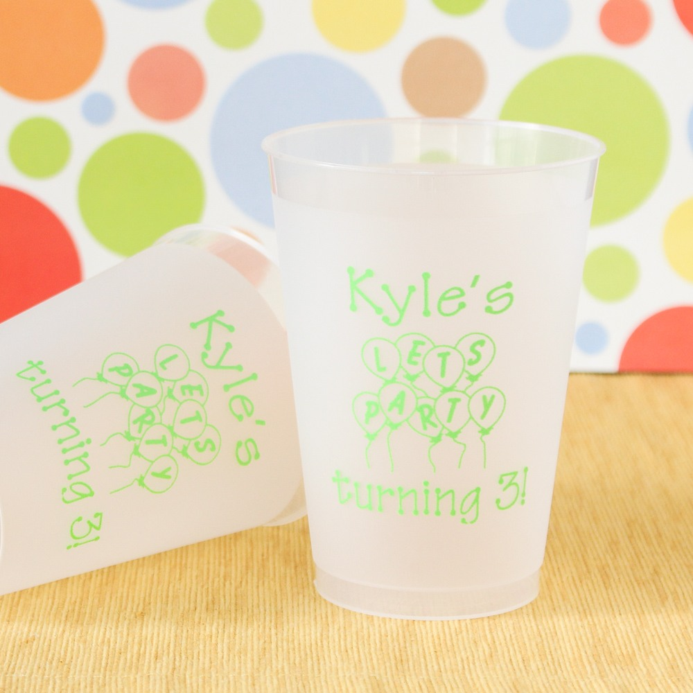 Personalized Frosted Plastic Kids Birthday Cups