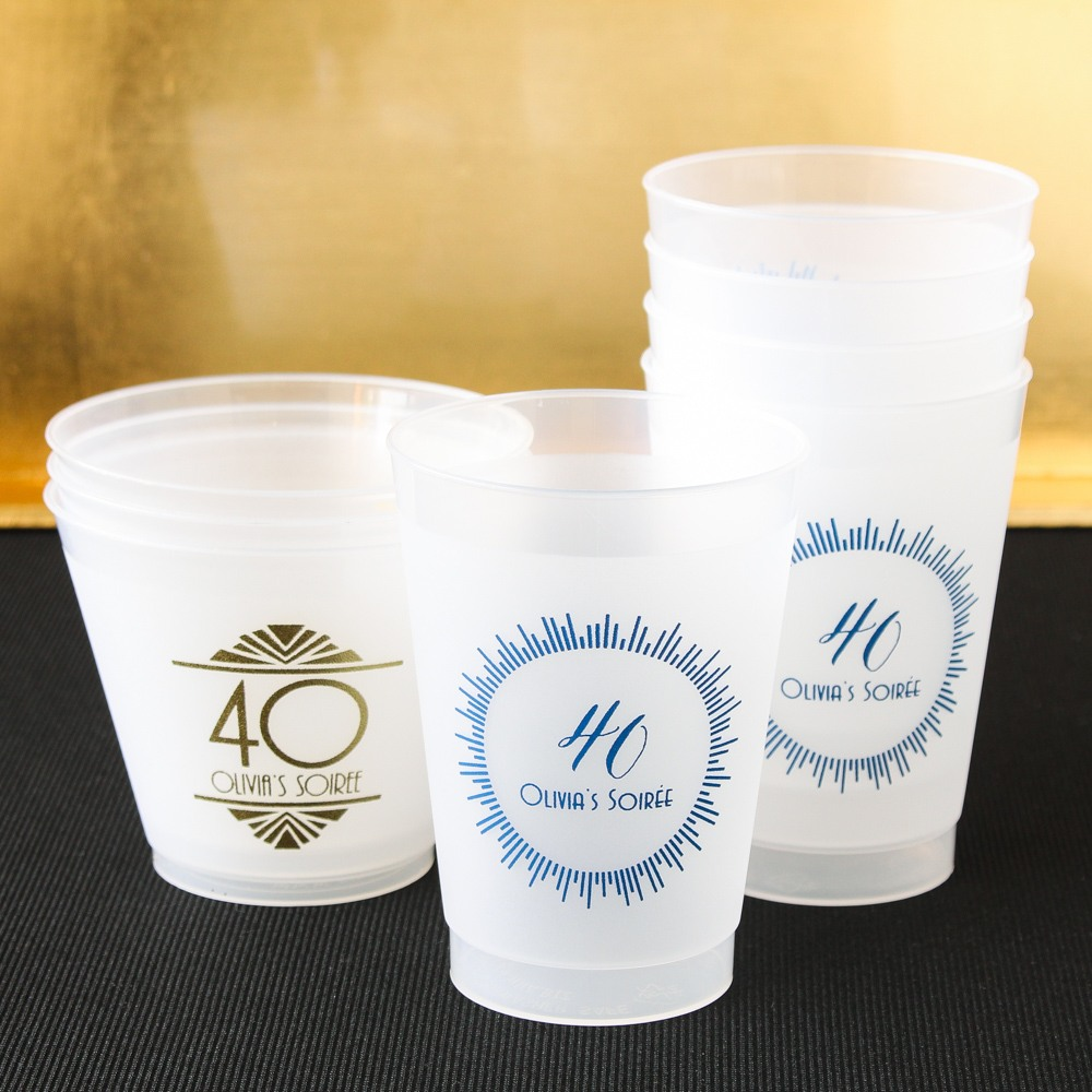 Personalized Frosted Plastic Milestone Birthday Cups