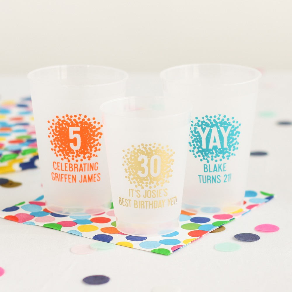 Personalized Confetti Birthday Frosted Cups