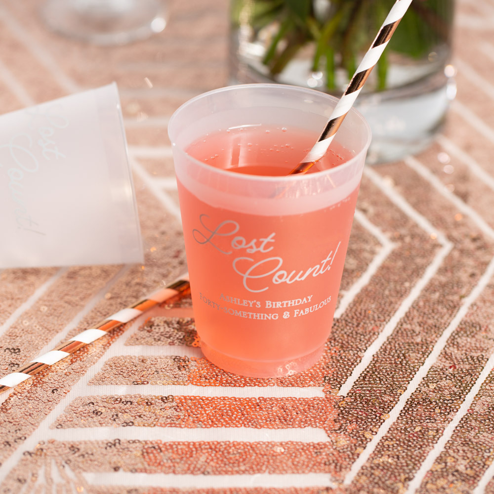 Personalized Lost Count Frosted Plastic Birthday Cups