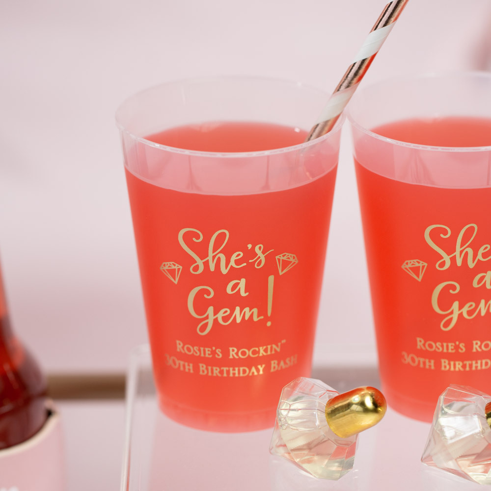 Personalized  She's a Gem Frosted Plastic Birthday Cups