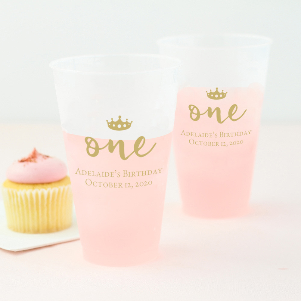 Personalized First Birthday Frosted Cups